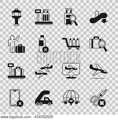 Set No Scissors, Plane Landing, Lost Baggage, Water Bottle, Tourist With Suitcase, Airport Control T