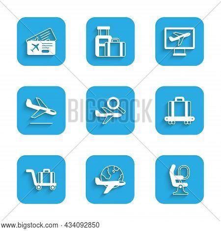Set Airplane Search, Globe With Flying, Seat, Conveyor Belt Suitcase, Trolley Baggage, Plane Landing