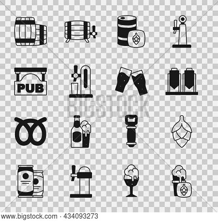 Set Glass Of Beer, Hop, Beer Brewing Process, Metal Keg, Tap With Glass, Street Signboard Pub, Woode