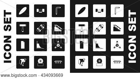 Set Tool Allen Keys, Skateboard, Tool, Longboard Or Skateboard, Stairs With Rail, Wheel, Y-tool And