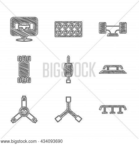 Set Screwdriver, Skateboard Y-tool, Stairs With Rail, Longboard Or Skateboard, Wheel And Icon. Vecto
