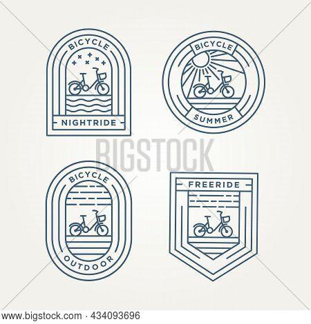 Set Of Bicycle Minimalist Line Art Badge Icon Logo Vector Illustration Design. Simple Modern Vehicle