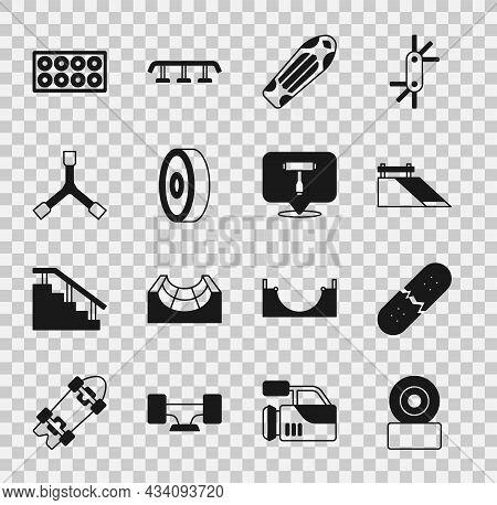 Set Skateboard Wheel, Broken Skateboard Deck, Park, Ball Bearing, Y-tool, And T Icon. Vector