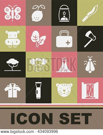 Set Waterfall, Mosquito, Wooden Axe, Camping Lantern, Tropical Leaves, Hippo Or Hippopotamus, Butter