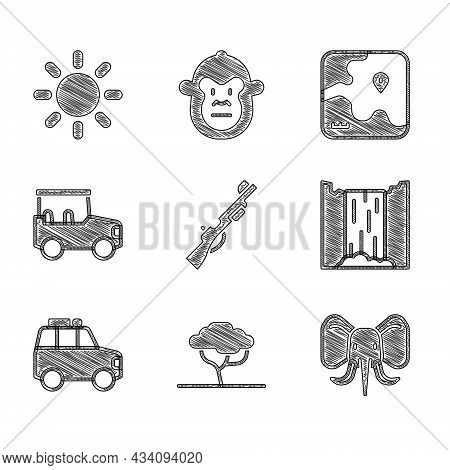 Set Hunting Gun, African Tree, Elephant, Waterfall, Car, Safari Car, Safari Map And Sun Icon. Vector