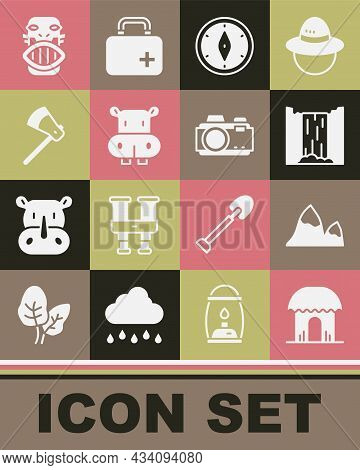 Set African Hut, Mountains, Waterfall, Compass, Hippo Or Hippopotamus, Wooden Axe, Mexican Mayan Azt