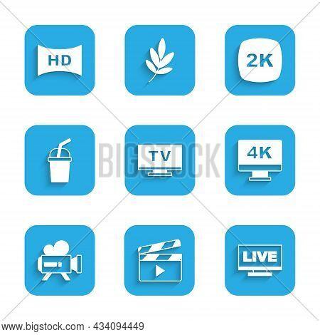 Set Smart Tv, Movie Clapper, Live Stream, Screen Tv With 4k, Retro Cinema Camera, Paper Glass Water,