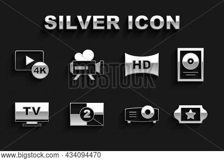 Set Old Film Movie Countdown Frame, Cd Disk Award In, Cinema Ticket, Movie, Film, Media Projector, S