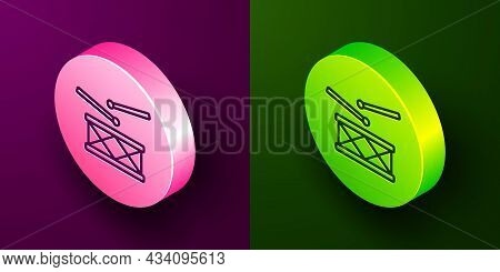 Isometric Line Drum With Drum Sticks Icon Isolated On Purple And Green Background. Music Sign. Music
