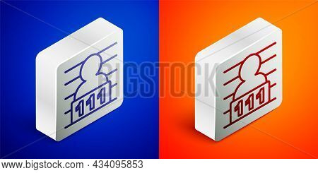 Isometric Line Suspect Criminal Icon Isolated On Blue And Orange Background. The Criminal In Prison,