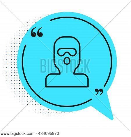 Black Line Thief Mask Icon Isolated On White Background. Bandit Mask, Criminal Man. Blue Speech Bubb