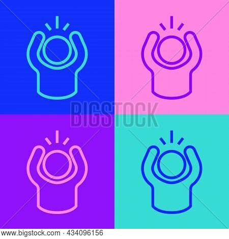 Pop Art Line Anger Icon Isolated On Color Background. Anger, Rage, Screaming Concept. Vector