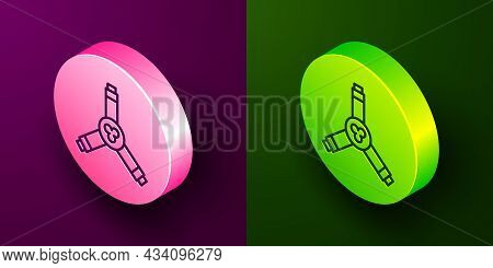 Isometric Line Skateboard Y-tool Icon Isolated On Purple And Green Background. Circle Button. Vector