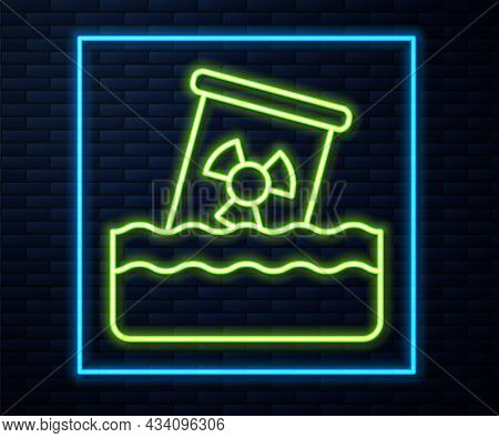 Glowing Neon Line Radioactive Waste In Barrel Icon Isolated On Brick Wall Background. Toxic Waste Co