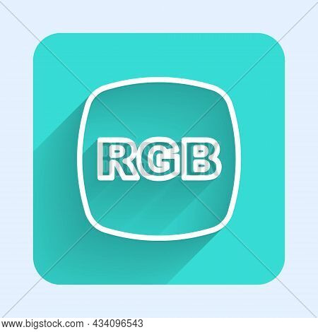 White Line Speech Bubble With Rgb And Cmyk Color Mixing Icon Isolated With Long Shadow Background. G
