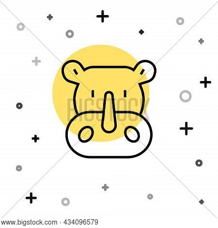 Black Line Rhinoceros Icon Isolated On White Background. Animal Symbol. Random Dynamic Shapes. Vecto