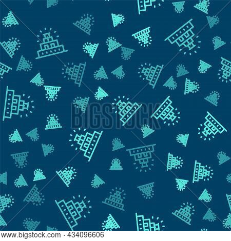 Green Line Chichen Itza In Mayan Icon Isolated Seamless Pattern On Blue Background. Ancient Mayan Py