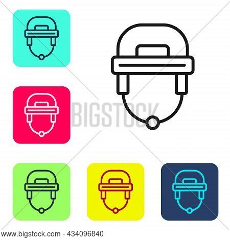 Black Line Hockey Helmet Icon Isolated On White Background. Set Icons In Color Square Buttons. Vecto
