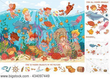 Children Swim Underwater With Marine Life. Kids Snorkeling. Sport. Find All Animals. Find 10 Hidden