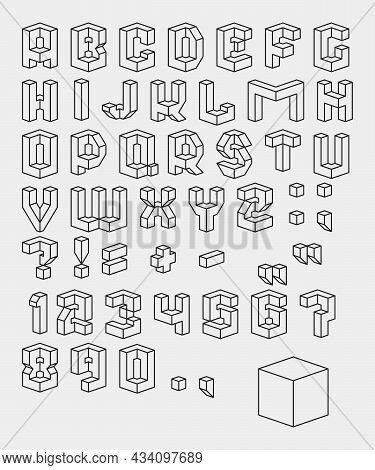 Vector Set Of  Black And White Characters. 3d Isometric Font. Contour Alphabet. Vector Letters, Numb