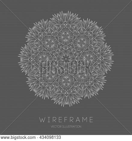 Line Art Sacred Geometry Mandala Tattoo Design. Technology Cover Background. Sacred Esoteric Geometr
