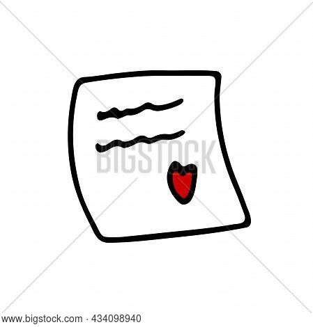 Doodle Memo Sticker With Heart. Hand-drawn Outline Notepaper Isolated On White Background. Sign Of C