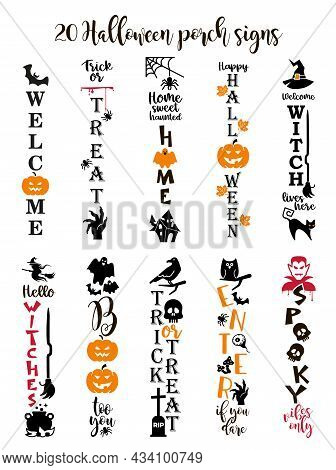Halloween Lettering With Pumpkin, Spiders, Web. Vertical Halloween Sign. Front Porch Sign.