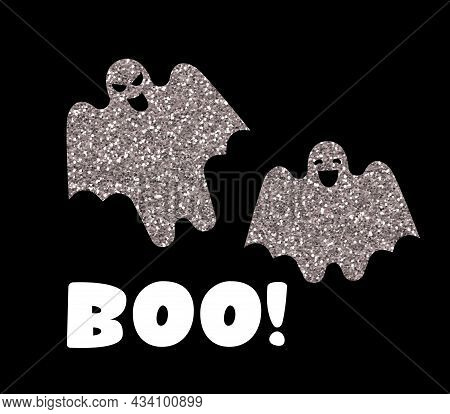 Boo Typography Design With Halloween Ghosts Isolated On Black Background