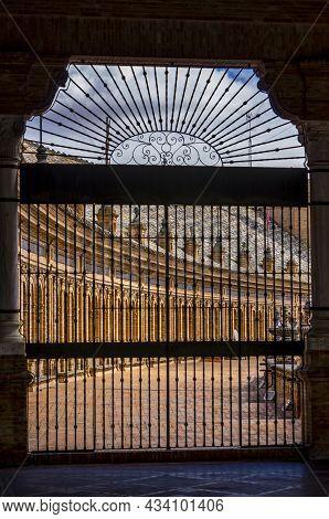 Sevilla, Spain - June Circa, 2020. Frame To Frame Of The Spain Square Plaza De Espana In Seville, Wi