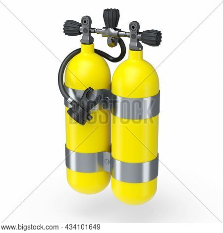 Yellow Diving Tanks Or Balloons Full Oxygen For Snorkeling Isolated On A White