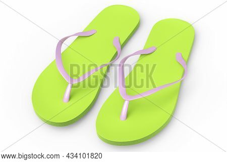 Beach Green Flip-flops Or Sandals Isolated On White Background.