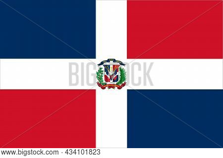 Dominican Republic Flag In Official Colors And Proportions, Vector