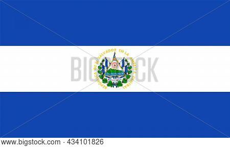 El Salvador Flag In Official Colors And Proportions, Vector