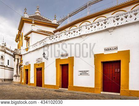 Seville, Spain - March Circa, 2020. Plaza De Toros De La Maestranza, From The Steet, Outside, At Sev