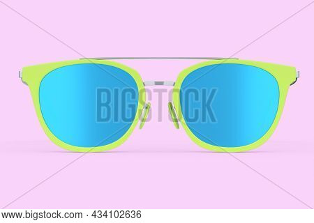 Realistic Sunglasess With Gradient Lens And Green Plastic Frame On Pink