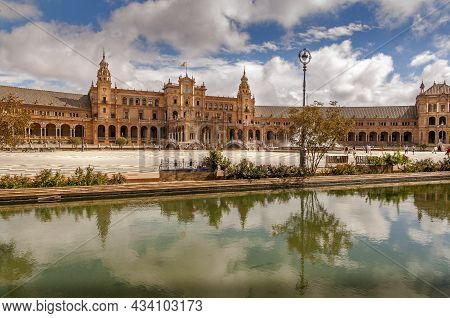 Sevilla, Spain - June Circa, 2020. Panorama Of The Spain Square Plaza De Espana In Seville, With Bri
