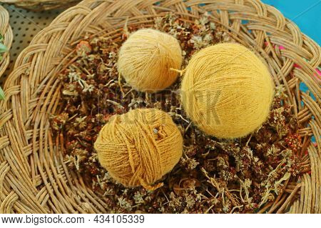 Basket Of Yellow Peruvian Alpaca Wool Yarn Balls Natural Dyed From Local Plants, The Andes Village O