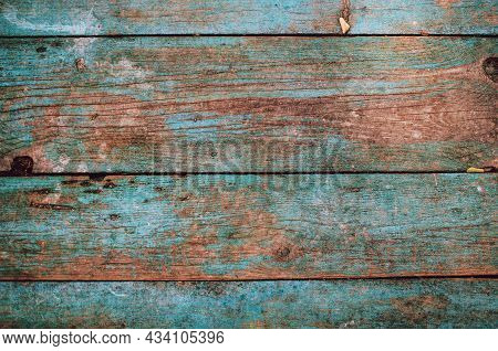 Textured Design Of Wood Planks In Turquoise Color. Barn Background With Copy Space.
