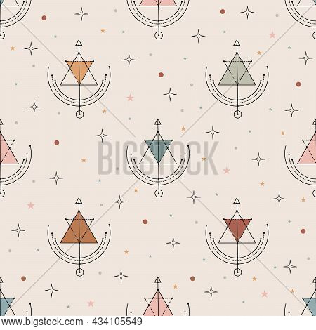 Vector Seamless Pattern With Colorful Alchemy And Mystic Signs Eye, Triangles, Arrows, Moons, Stars,