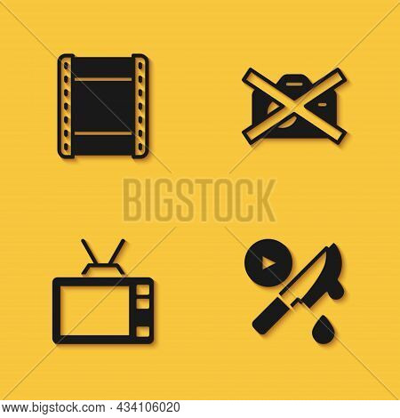 Set Play Video, Thriller Movie, Retro Tv And Prohibition No Recording Icon With Long Shadow. Vector