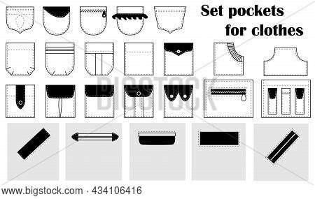 Set  Patch, Slash Pockets For Clothes, Shirts, Dresses, Pants, Coats, Jackets. Vector Isolated.