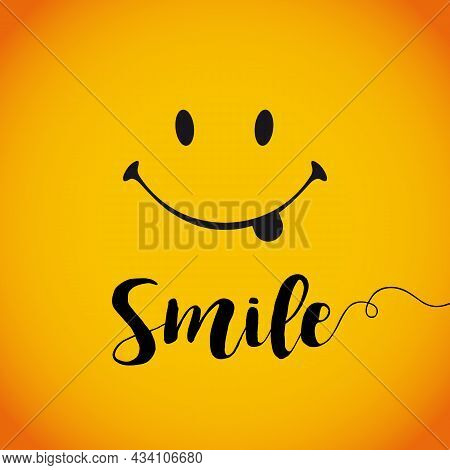Smile With Tongue. Internet Messenger Emoticon. Computer Square Icon. Happy World Smile Day Greeting