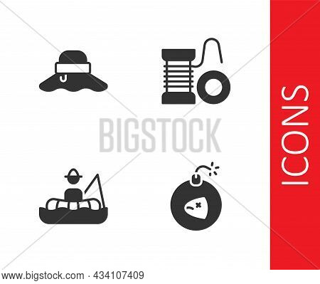 Set Bomb, Fisherman Hat, In Boat And Spinning Reel For Fishing Icon. Vector