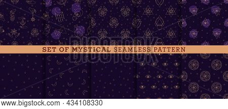 Printvector Set Seamless Pattern With Alchemy And Mystic Signs Eye, Triangles, Palms, Moons, Stars,