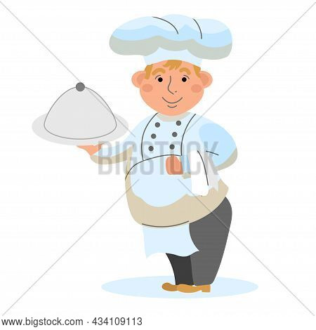 The Chef Is A Full-length Chef With A Dish In His Hand On A White Isoliral Background. Vector Illust
