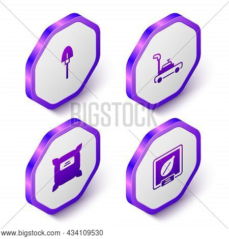 Set Isometric Shovel, Lawn Mower, Pack Full Of Seeds And Seeds Specific Plant Icon. Purple Hexagon B