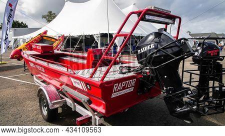 NORWALK, CT, USA - SEPTEMBER 23, 2021:   Raptor Phoenix ALU 190 F rescue boat displayed Progressive Norwalk Boat Show September 23-26 2021