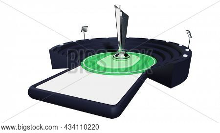 3D Illustration Of Online Stadium Or Playground On Smartphone Screen With Silver Trophy Cup.
