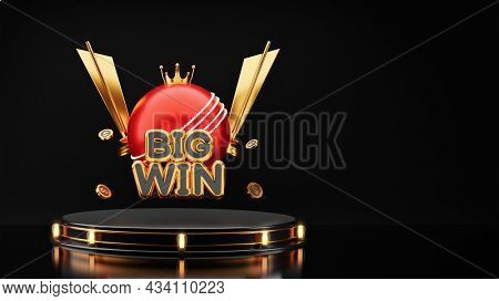 3D Big Win Text With Red Cricket Ball, Golden Crown, Trophy Cups And Dollar Coins On Black Background.