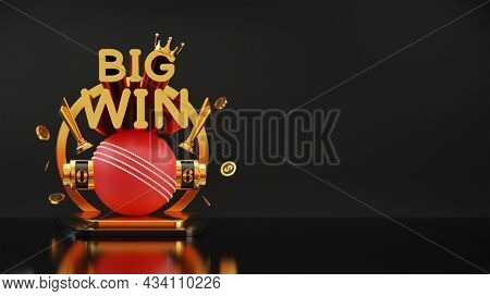 3D Big Win Slot Or Numbering Machine Of Cricket With Dollar Coins, Golden Trophy Cup, Crown And Copy Space.